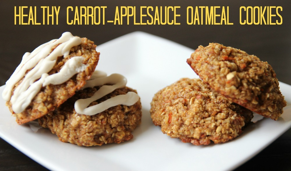 Healthy Carrot Applesauce Oatmeal Cookies